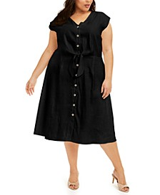 Plus Size Tie-Waist A-Line Linen Dress