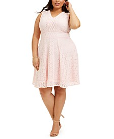 Plus Size Lace Fit & Flare Dress, Created for Macy's