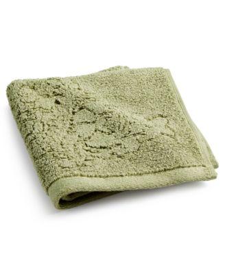 """Sculpted Floral Cotton 13"""" x 13"""" Wash Towel"""