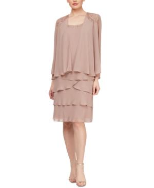 Modest, Mature, Mrs. Vintage Dresses – 20s, 30s, 40s, 50s, 60s Sl Fashions Embellished Tiered-Hem Dress  Jacket $135.00 AT vintagedancer.com