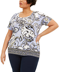 JM Collection Plus Size Paisley-Print Jacquard Top, Created for Macy's