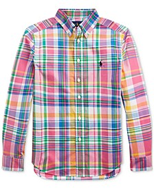 Big Boys Plaid Cotton Poplin Shirt