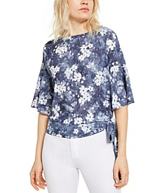 Floral-Print Side-Tie Top, Regular & Petite Sizes
