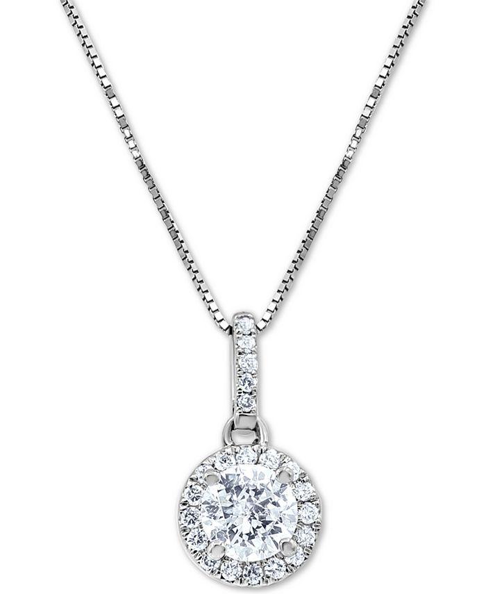 "Macy's Star Signature Diamond - Certified Diamond Halo 18"" Pendant Necklace (3/4 ct. t.w.) in 14k White Gold"