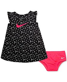 Baby Girls 2-Pc. Dri-FIT Dot-Print Flutter-Sleeve Dress & Diaper Cover Set