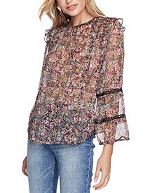 Floral-Print Ruffled Lace-Detail Top
