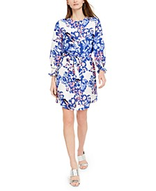 Floral-Print Belted Shirt Dress