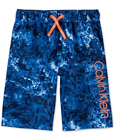 Big Boys Abstract Wave-Print Logo Swim Trunks
