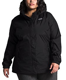 Plus Size Hooded Water-Repellant Jacket
