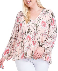 Plus Size Printed Pleated Blouse