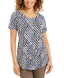 Petite Printed Scoop-Neck Top, Created for Macy's