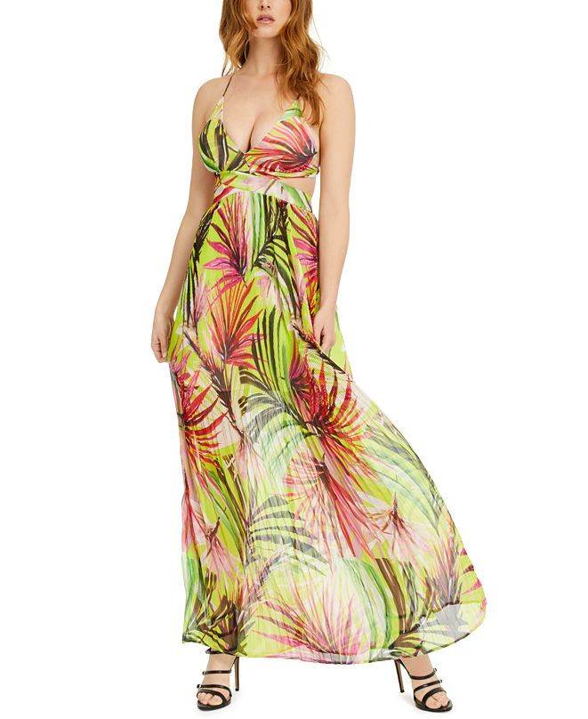 GUESS Emma Printed Cutout Maxi Dress