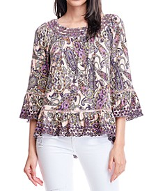Paisley-Print Eyelet-Embroidered Top