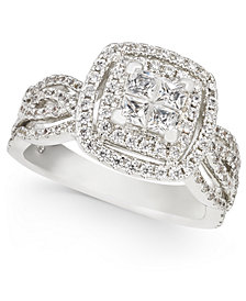Diamond Princess Halo Cluster Engagement Ring (1-1/3 ct. t.w.) in 14k White Gold