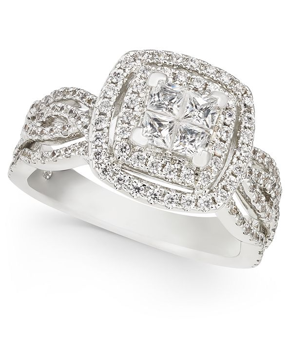 Macy's Diamond Princess Halo Cluster Engagement Ring (1-1/3 ct. t.w.) in 14k White Gold