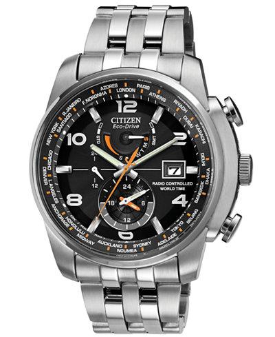 citizen men s eco drive world time a t stainless steel bracelet citizen men s eco drive world time a t stainless steel bracelet watch 43mm at9010 52e