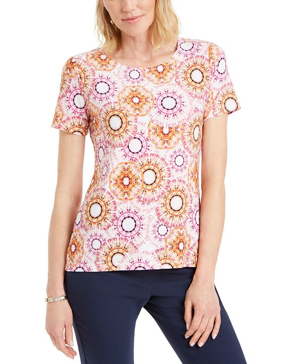 JM Collection Printed Jacquard T-Shirt, Created for Macy's