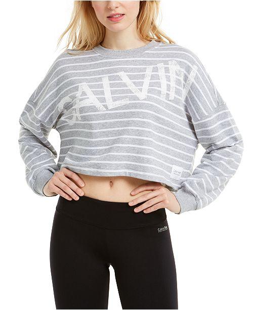 Calvin Klein Striped Logo Cropped Top