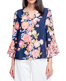 Floral-Print Split-Neck Blouse