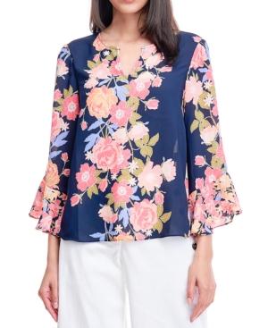 Floral-Print Split-Neck Blouse