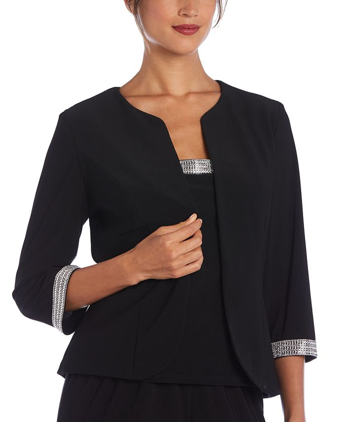 R & M Richards - Plus Size 2-Pc. Embellished-Trim Top & Jacket Set