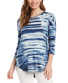 Tie-Dyed 3/4-Sleeve Top