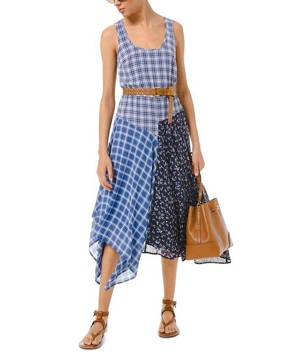 Michael Kors Patchwork Handkerchief-Hem Dress