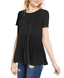 Juniors' Tiered Ruffle-Hem Top