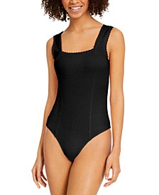 Juniors' Lace-Trim Bodysuit