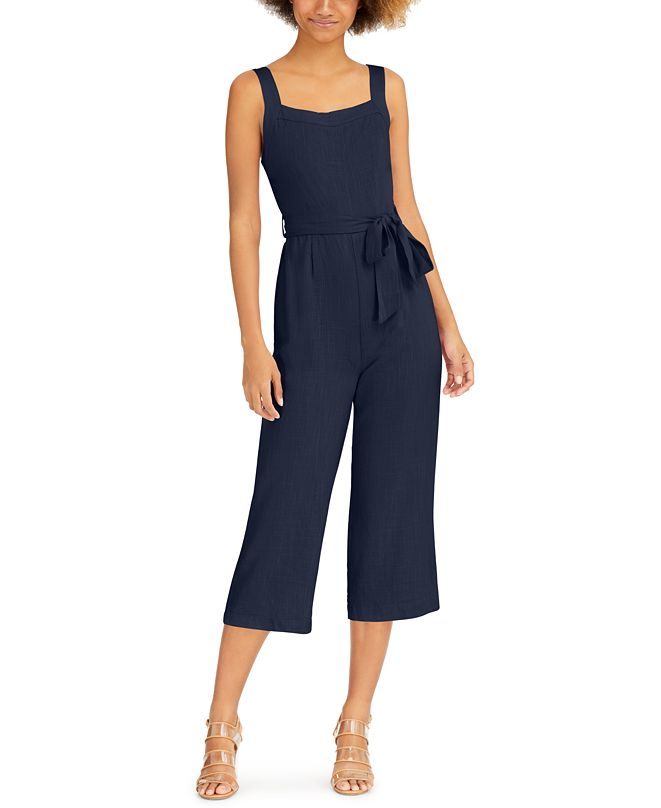 Lost + Wander Sleeveless Tie-Waist Cropped Jumpsuit