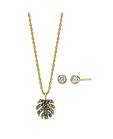 2-Pc. Set Mini Green Crystal Leaf Pendant Necklace & Stud Earrings in Gold Tone, Created for Macy's