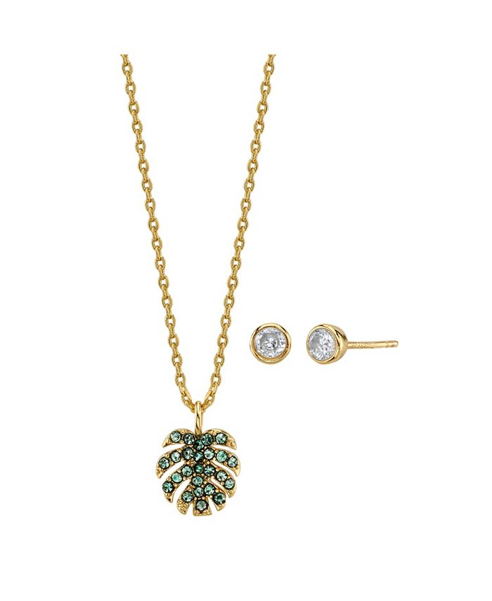 Unwritten - 2-Pc. Set Green Crystal Leaf Pendant Necklace & Stud Earrings in Gold Tone, Created For Macy's