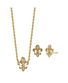 2-Pc. Set Cubic Zirconia Mini Fleur de Lis & Stud Earrings in Gold Tone Fine Plated Silver, Created for Macy's