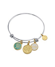 """Family"" Tree Enamel Adjustable Bangle Bracelet in Stainless Steel"