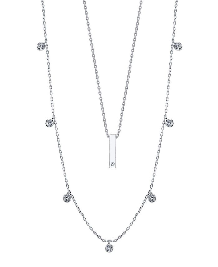Unwritten - Fine Silver Plated Cubic Zirconia Bar Duo Necklace with Beaded Secondary Chain