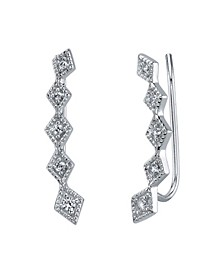 Silver Plated Cubic Zirconia Curved Drop Earring