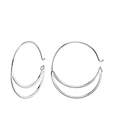 """Silver Plated Endless Hoop Earrings, 1.48"""""""