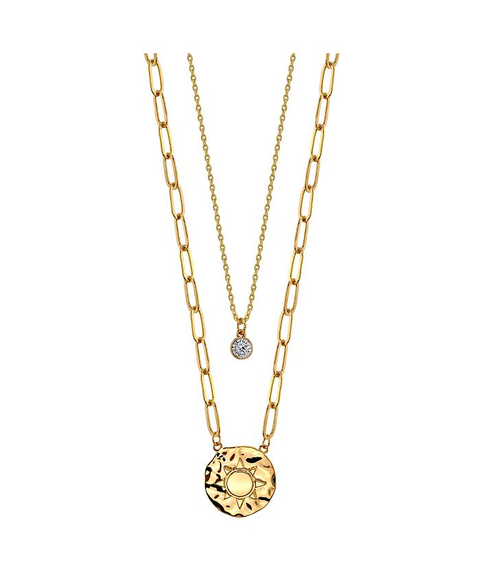Unwritten - Gold Flash Plated Sun Disk Layered Pendant Necklace with Cubic Zirconia Pendant