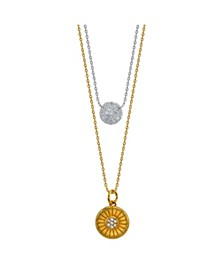 Two-Tone Cubic Zirconia Pave Disc and Gold Sun Layer Necklace
