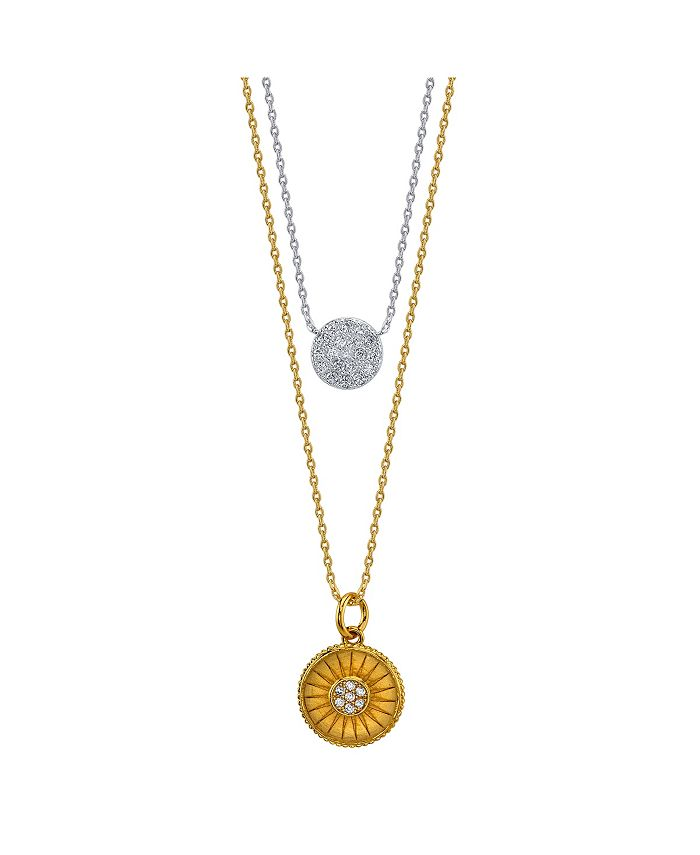 Unwritten - Two-Tone Cubic Zirconia Pave Disc and Gold Sun Layer Necklace