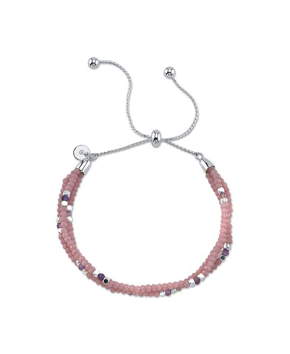 Unwritten Fine Silver Plated Crystal and Genuine Stone Accent Adjustable Bolo Bracelet