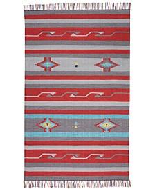 "Macah MAC01 Gray, Red 6'6"" x 9'6"" Area Rug"