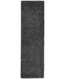 """Cali Shag CAL01 Charcoal 2'2"""" x 9'10"""" Runner Rug"""