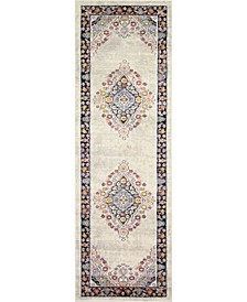 "Meza D113 Ivory and Navy 2'6"" x 8' Runner Rug"