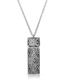 Antique-like Pewter Filigree Covered Glass Vial Necklace
