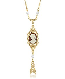 Carnelian Oval Cameo with Faux Imitation Pearls Necklace