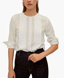 Pleated Embroidery Blouse