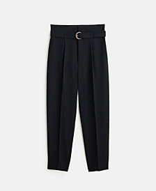 MANGO Belted Crepe Trousers