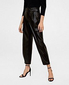 Belted Faux Leather Cargo Pants