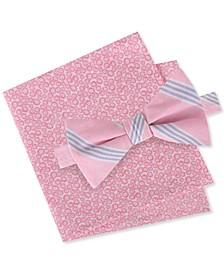 Men's Julio Pre-Tied Stripe Bow Tie & Floral Pocket Square Set